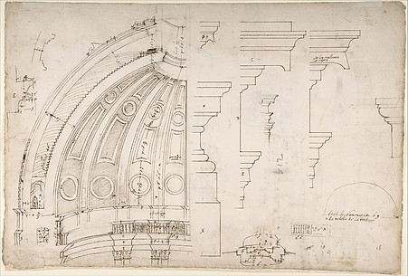 St. Peter's, dome and drum, interior section and elevation, and labeled details (recto) St. Peter's, moulding profiles, details  (verso)