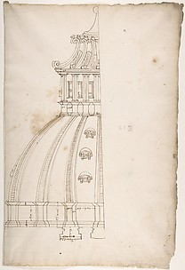 St Peter's, dome, model, half elevation (recto) blank (verso)