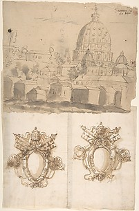 St. Peter's, view from the southeast; Unidentified, blank, papal escutcheons (recto) blank (verso)
