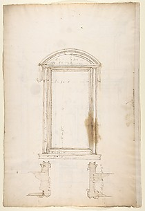 San Lorenzo, Library, Ricetto, portal to Ricetto, elevation; plan (recto) San Lorenzo, Library, Ricetto, portal to Ricetto, section; details (verso)