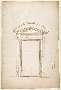 San Lorenzo, Library, Ricetto, entry portal from library, elevation (recto) San Lorenzo, Library, Ricetto, entry portal from library, plan and section (verso)