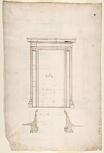 San Lorenzo, Library, Ricetto, portal from cloister, elevation; plan (recto) San Lorenzo, Library, Ricetto, portal from cloister, section; details (verso)