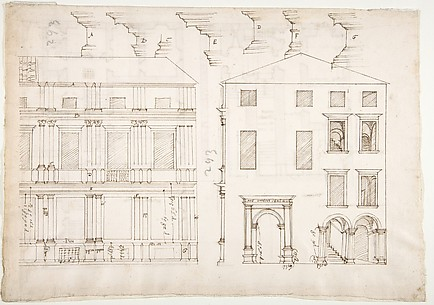 Villa Farnesina, Stables, half front elevation and end elevation (recto) Palazzo Salviati-Adimari, plan (verso)