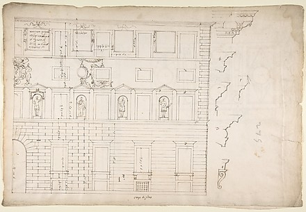 Palazzo Spada (Capodiferro), right half, elevation; details profiles (recto) Wall, interior, elevation; ceiling, interior, plan (verso)