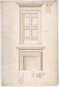 Unidentified, portal, elevation; portal, cornice, profile; fireplace, elevation (recto) blank (verso)
