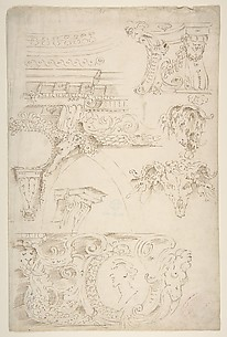 Sketches of Sculptured Decoration. Entablatures and a Frieze with Human, Animal and Floral Ornaments