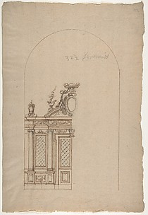 Design for a Choir Screen with a Cardinal's Hat