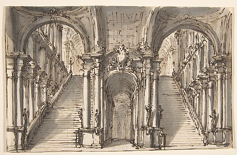 Design for a Stage Set: Double Stairway Pierced by an Arcade (recto); Slight Sketch (verso)