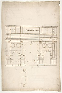 Arch of Constantine, elev, partial plan (recto) Arch of Constantine, profiles of base, shaft and entablature (verso)
