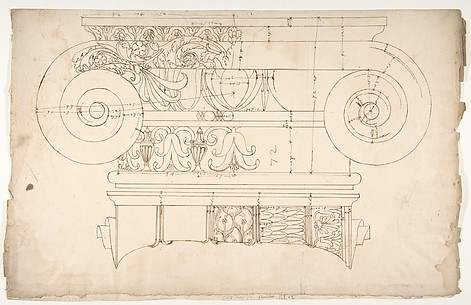Unidentified, Ionic capital, elevation, front and side (recto) Unidentifed, Ionic capital, section, detail; Ionic capital, elevation, detail  (verso)