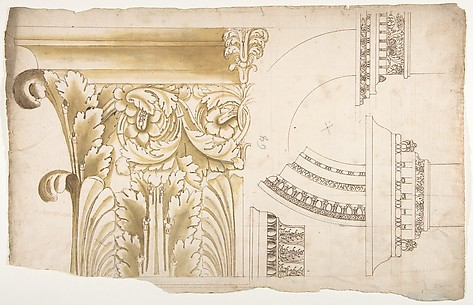Arch of Septimius Severus, pilaster capital, elevation; impost and arch elevation; detail (recto) blank (verso)