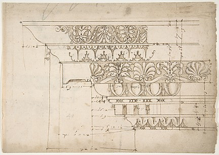 Domus Augustiana, cornice, elevation in profile, ornamental detailing (recto) Unidentified, cornice, elevation in profile, ornamental detailing (verso)