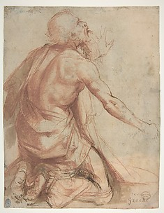 Kneeling Bearded Old Man (recto); Section of a Draped Limb and Sketches (verso)