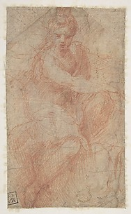 Seated Goddess Diana (recto); Studies of a Nude Male Torso Seen from the Rear, and a leg (verso)