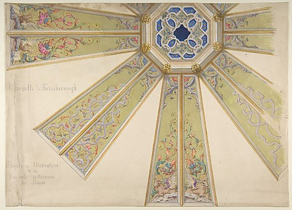 Design for the Interior Cupola of a Domed Chapel, Farnborough, England