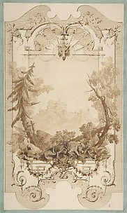 Design for a Decorative Wall Panel with Hunting Motif, Pless Chateau, Silesia