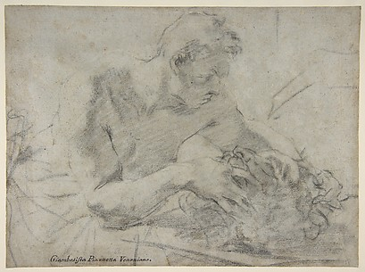 David With the Head of Goliath (recto); Study of Lower Leg and Right Foot (verso)