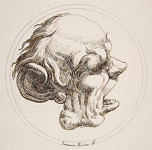 Grotesque Head With a Large Ear and an Open Mouth Looking to the Right Within a Circle