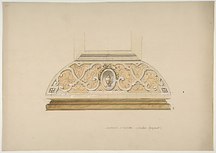 Design for the decoration of the stairway in the Chateau d'Ognon of M. deMachy (Oise, France)