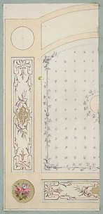 Design for painted decoration of wall or ceiling panels, including the word