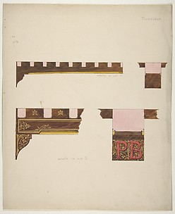 Designs for the painted decoration of ceiling timbers monogrammed
