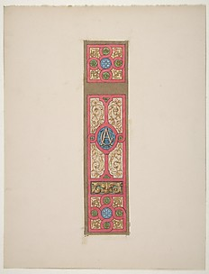 Design for the painted decoration of a wall of ceiling panel monogrammed