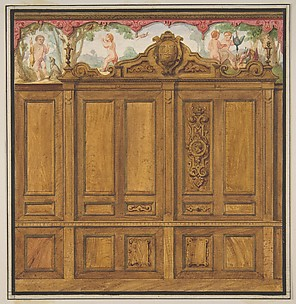 Design for the decoration of a room with a large wood-paneled cupboard surmounted by the monogram:  H