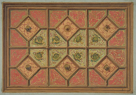 Design for the painted decoration of a coffered ceiling incorporating the initial:  H