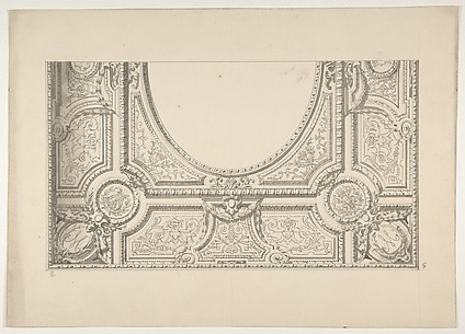 Design for the painted decoration of a ceiling with the monogram:  M