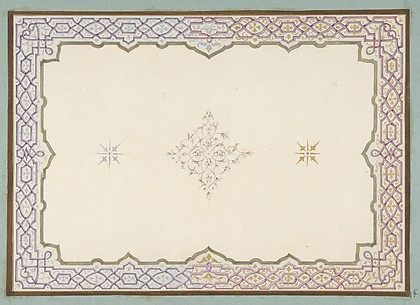 Design for the decoration of a ceiling with a border of strapwork and a central filagree medallion