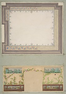 Designs for the ceiling and wall of a room decorated with waterbirds and flowering vines