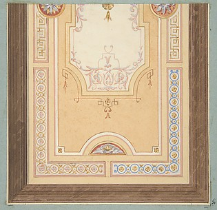 Design for the painted decoration of a ceiling in with strapwork and rinceaux