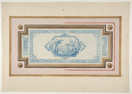 Design for the decoration of a ceiling with a Chinese blue and white design