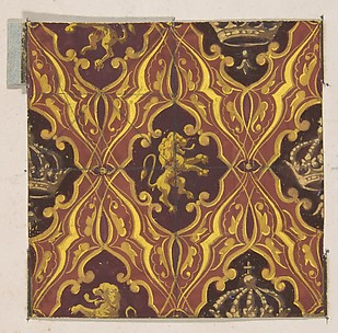 Design for wallpaper featuring rampant lions and crowns
