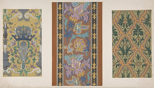 Three designs for wallpaper featuring strapwork, rinceaux, and fleurs-de-lis