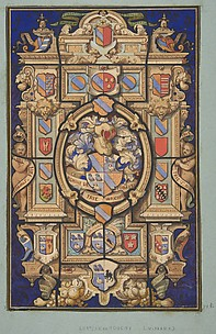 Design for a stained glass window with heraldic designs for the Chateau Mouchy (Oise)