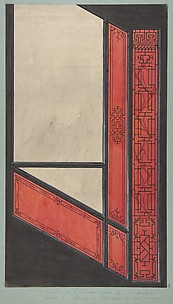 Design for the painted decoration in the Chinese style for the stairway of the house offered by the Empress to the duc de Mouchy on the occasion of his marriage