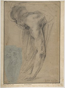 The Reclining Headless Body of Holofernes; Study of Female Semi-Nude Figure (on a small separate, unrelated sheet of blue paper, pasted onto the lower left of the large sheet).