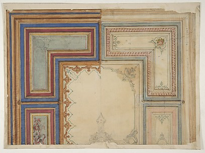 Two alternative designs for the painted decoration of a ceiling
