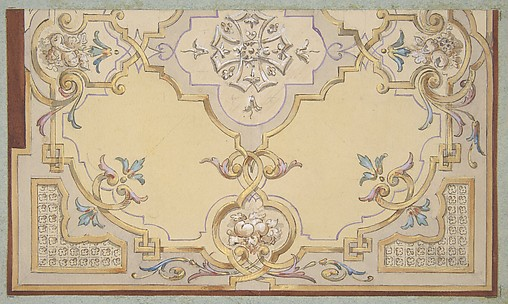 Partial design for the decoration of a ceiling with scrolls and swags of fruit