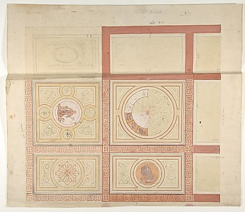 Design for the decoration of the ceiling of a vestibule in painted panels with roman key borders