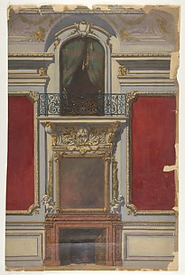 Elevation of an interior with a chimneypiece surmounted by a mirror and a second floor balcony