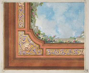 Partial design for ceiling decoration with clouds and roses