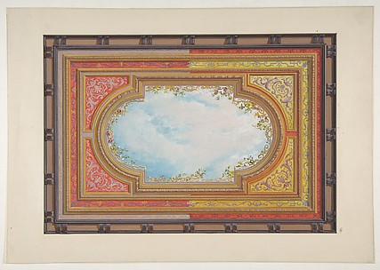 Design for a ceiling painted with trompe l'oeil clouds