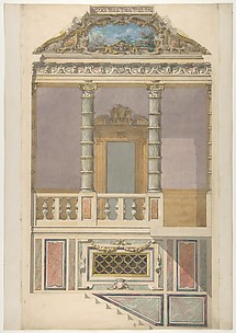Elevation of an Italianate interior, including steps and an upper  loggia decorated in composite columns