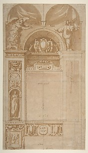 Design for a Reredos or Frame and Setting for an Altar Painting