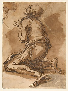 Old Man Kneeling Facing Upper Left