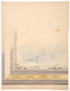 Design for a ceiling painted with clouds and flowering vines