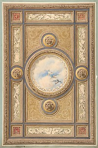 Design for a carved and painted ceiling with clouds and ducks in the central circular panel