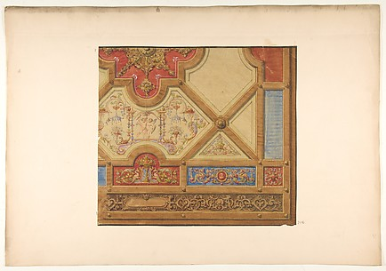 Partial design for the decoration of a ceiling in geometric panels painted with putti, masks., and griffins